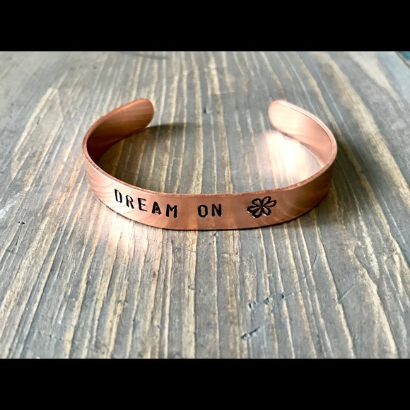 handmade Jewelry - Hand stamped adjustable metal cuff bracelet